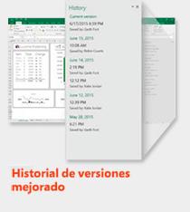 office 2016 historial de versiones mejorada