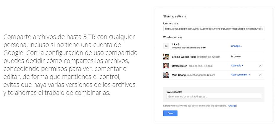 compartir archivos con google drive
