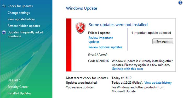 Windows update error código 80240016