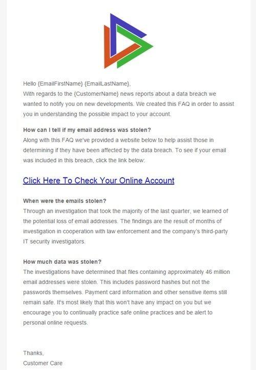 ejempl de informe phishing